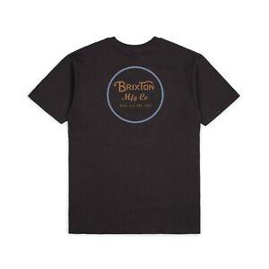 BRIXTON WHEELER II S/S STANDARD TEE SHIRT WASHED BLACK/BLUE