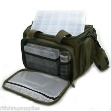 DELUXE CARP FISHING LURE TRAVEL BAG WITH 5 CLEAR TACKLE STORAGE BOXES STALKING
