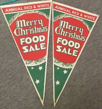 """2 Paper Poster / Pennants """"Red & White Merry Christmas Food Sale""""  1940's  NOS A"""