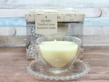 Desire Vanilla Cream Scented Wax Candle In A Glass Teacup With Saucer Tea Cup