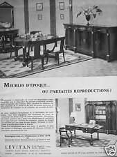 PUBLICITÉ LEVITAN MEUBLE D'ÉPOQUE OU PARFAITES REPRODUCTION - 74 CHAMPS ÉLYSÉES
