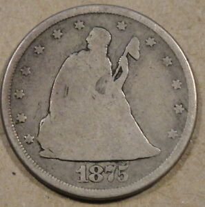 1875-CC Twenty Cent Piece Nice Medium Grey Lower Grade Better Date Coin