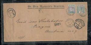 ST VINCENT COVER (PP0301B) 1899 QV 1/2D+1/- REG TO PRAGUE ANTIQUE OVER 100 YEAR