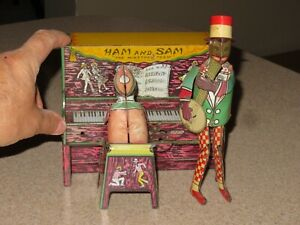Vin 1921 Strauss HAM & SAM The MINSTREL TEAM Tin Litho Wind-Up Toy Black History