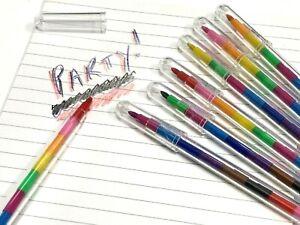 Crayon Pen Stacker Kids Swap Colour Pencil Boy Girl Prize Party Bag Filler Toys