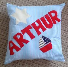 Any Name - Boys PERSONALISED Cushion GIFT Christening Blue Red New Baby Present