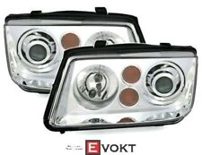 Headlamp Set With Projector Lens For VW BORA In Clear Glass Chrome XENON Optics