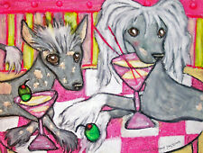 Chinese Crested Drinking a Martini Pop Art Print 8x10 Dog Collectible Signed Khs