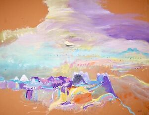 PIERRE GRAZIANI (1932-2020) SIGNED FRENCH OIL - 1970's - CLOUDS OVER OASIS