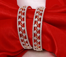 Indian Bollywood Gold Plated American Diamond 2 Pc Bangles Bracelet Set Jewelry