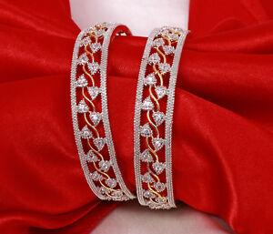Indian Bollywood Silver American Diamond 2 Pc Kada Bangles Bracelets Jewelry New