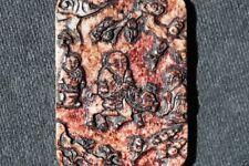 "Jade039 Antique estate red and white jade pendant 19/20 Century length3.7"""