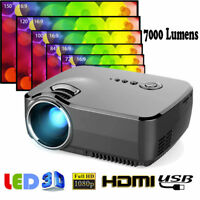 7000 Lumens 1080P HD LED Projector Home Theater Cinema Multimedia USB HDMI VGA