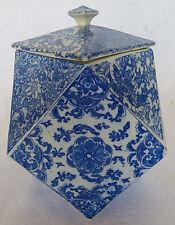 VTG Chinese Floral Design Blue & White Octagonal Geometric Shape Porcelain Vase