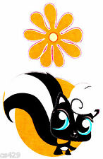 "5"" LITTLEST PET SHOP SKUNK  FLOWER CHARACTER  FABRIC APPLIQUE  IRON ON"