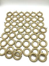 46 Vintage Wood Curtain Rings Antiqued White/Beige color with Screw Eyes