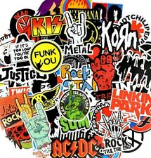 50x Rock Stickers Metal Pink Bands Guitar Amp Music Decals Stickerbombs Party