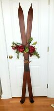 Vintage Antique Pointed Wooden Skis patina leather straps HOLIDAY SEASONAL DECOR