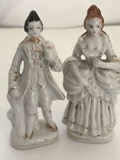 "Victorian Ceramic Couple Made in Occupied Japan  4"" White Porcelain Gold Trim"