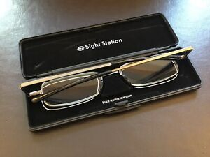Sight Station By Fostergrant Fold Flat Compact Reading Glasses with Case 2.00 +