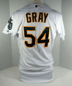 2017 Oakland Athletics A's Sonny Gray #54 Game Issued Poss Used White Jersey
