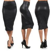 Fashion Women PU Leather High Waist Knee Pencil Bodycon Midi Skirt Dress Charm