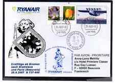 GANZSACHE DO-X  RYANAIR ERSTFLUG BREMEN - BEAUVAIS / PARIS 2007
