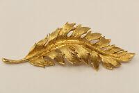 Beautiful Goldtone Signed Coro 1961 Leaf Brooch Pin G*