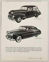 1954 Magazine Photo 1946 & 1948 Hudson Cars New Styling for 1955