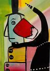 ACEO ORIGINAL Painting~ABSTRACT SURPRISE~REDHEAD~FIGURATIVE~OUTSIDER~SMOODY