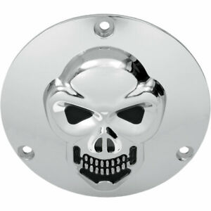 Drag Specialties 3-D Chrome Skull Derby Cover for 1970-1998 Harley Big Twin