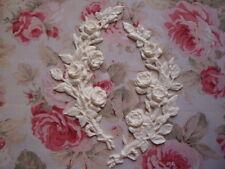 NEW! Large Semi-Flexible Rose Branch/Stem L-R Pair Furniture Applique Pediment