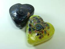 Pair of Signed Arte Vargas heart shaped art glass paper weights made in Canada