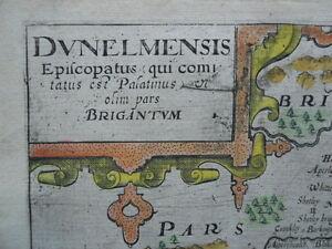 Map, County Durham, Christoph Saxton - Will Kip  1607 - 1637 Antique Original  >