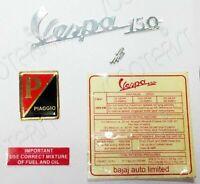 Vespa 150 Brass Red Black Piaggio Legshield Badge/Decal Sticker Set New