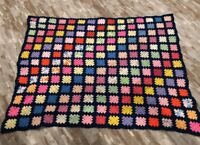 Vintage Crocheted Granny Square Afghan Throw Blanket 50 X 59 Blue Handmade