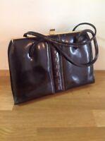 Vintage Clarks Handbag 1960s Dark Brown Leather Style Retro