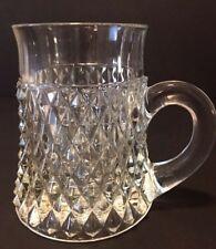 Vintage Indiana Glass Diamond Point Clear Glass Mug 10 oz