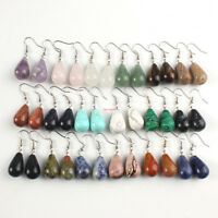 Natural Quartz Crystal Round Water Drop Cabochon Gem Stone Dangle Hook Earrings