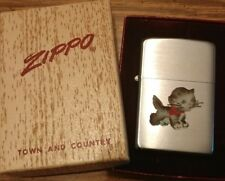 Extremely rare 1950s Zippo lighter Town and Country w Cat design in box WOW..