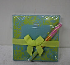 Lady Layne Ltd. Cabana Aqua Lime Square Pad and Pen writing note pad set