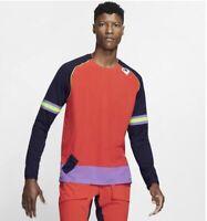 Nike Wild Run Men's Long-Sleeve Running Top  Blue Orange Size Medium