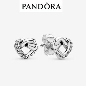 Genuine Pandora Sterling Silver Knotted Hearts Stud Earrings - 298019CZ S925 ALE