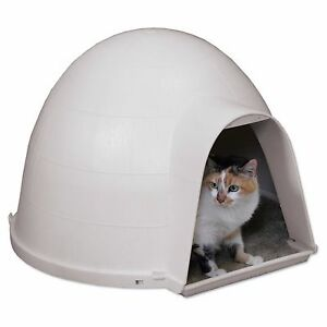 Igloo Cat Condo House Cave Shelter Bed Insulated Protection Pet Safe Outdoor S