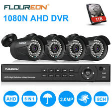 8CH 1080N AHD DVR +4X Outdoor 1080P Camera + 1TB HDD CCTV Security System Kit UK