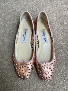 Jimmy Choo, Rose Gold, Ballet Flats, Leather, Pink EUC, Size 36.5 Made In Italy