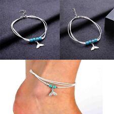 Women Resin Beads Mermaid Tail Pendant Multi-layer Ankle Bracelets HQ