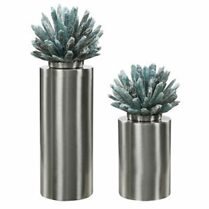 Aqua Selenite Crystal Stone Sculpture Set 2 Silver Column Finial Organic Modern