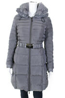 Moncler Womens Belted Hooded Cold Weather Down Puffer Jacket Coat Gray Size 0