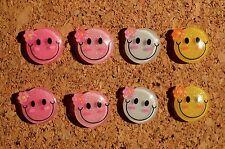 Set of 8 blingy Smiley Face bulletin board pushpins, thumbtacks, or magnets